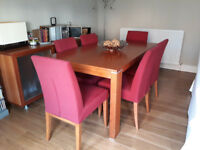 Wooden table and 6 chairs dinner set