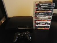 Sony Playstation 3 slim 160GB one controller and 19 games COD GTA5 GTA4 etc.