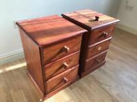 x2 WOODEN SIDE TABLES, 3 DRAWERS, EXCELLENT CONDITION, BARGAIN!