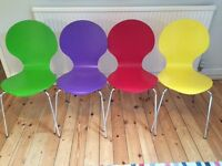 4 coloured bentwood stacking chairs