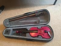 3/4 Violin Stentor Harlequin in Raspberry Pink with case