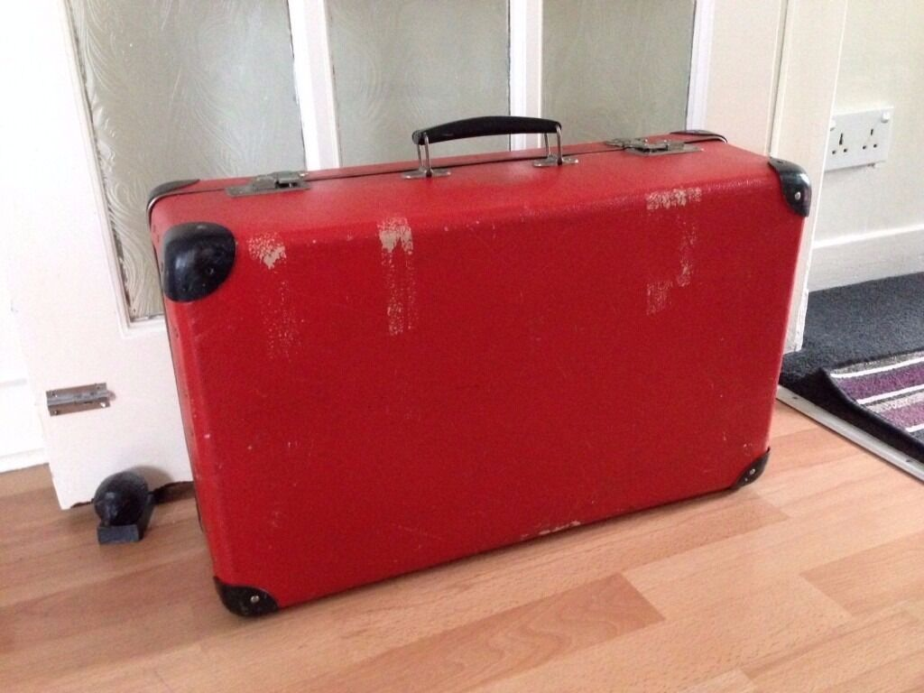 Vintage Suitcase KAZETO Made in Czechoslovakia Red Hard Suitcase ...