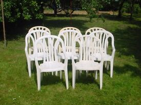 Garden chairs, 8 white plastic chairs with armrests