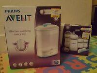 New Philips Avent bottles and a steriliser. Newborn starter set. Natural latch on.