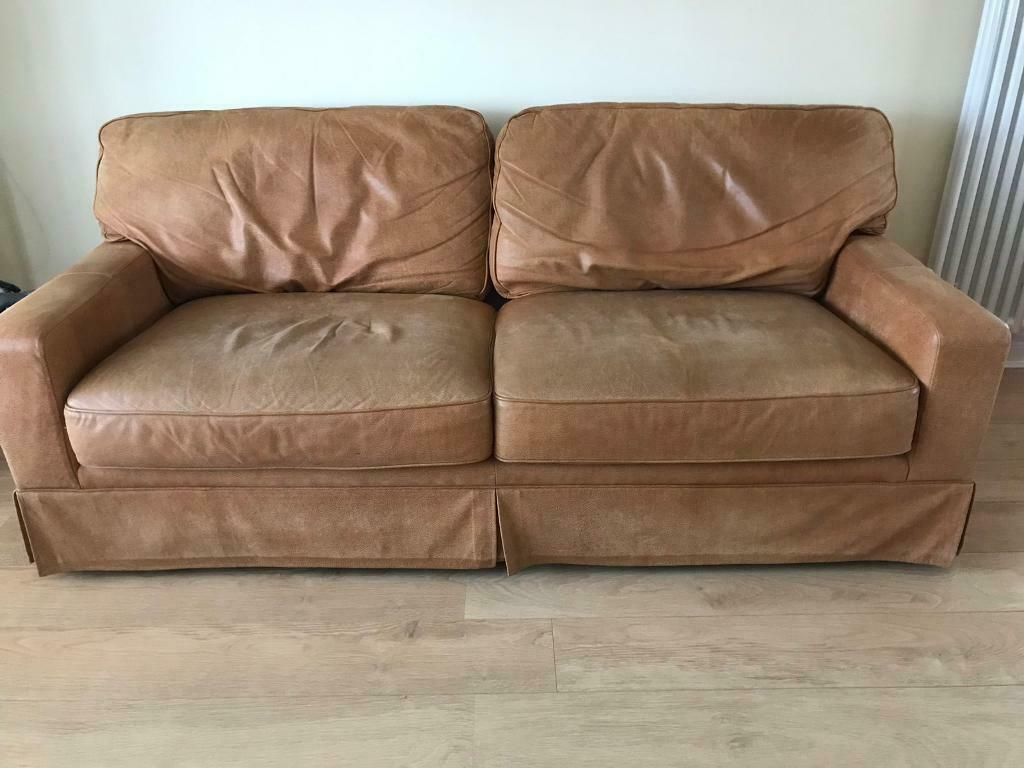 Outstanding Large 3 Seater Nubuck Tan Leather Settee Single Chair And Large Footstool In Bonnyrigg Midlothian Gumtree Caraccident5 Cool Chair Designs And Ideas Caraccident5Info