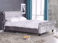 **BLACK CHAMPAGNE AND SILVER** NEW DOUBLE AND KING CRUSHED VELVET SLEIGH BED & MEMORY FOAM MATTRESS