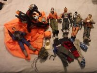 Action Man bundle including motor bike, parachute, 5 action men and Dr X