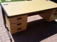 Large beech desk, drawers each side