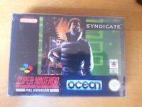 SNES Super Nintendo Syndicate Boxed with Manual & protective sleeve