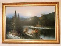 Beautiful Gold Framed Oil Painting Of Lake Scene