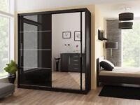 SAME DAY Victor High Gloss Sliding Door Wardrobe in Black / White -BRAND NEW!