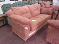 Velvet-like material in Terracotta, Modern DFS sofa set with beech wood trim (2 +1+1)
