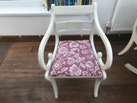 6 Dining Chairs re-upholstered (professionally) shabby chic