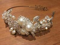 Pearl and Clear Bead Diamanté Vintage Style Head Band / slide Bridal Silver