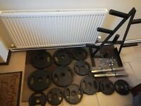 101kg Rubber Coated Olympic Weights Set with 20kg 7ft Barbell, Olympic Dumbbells & Weight Tree