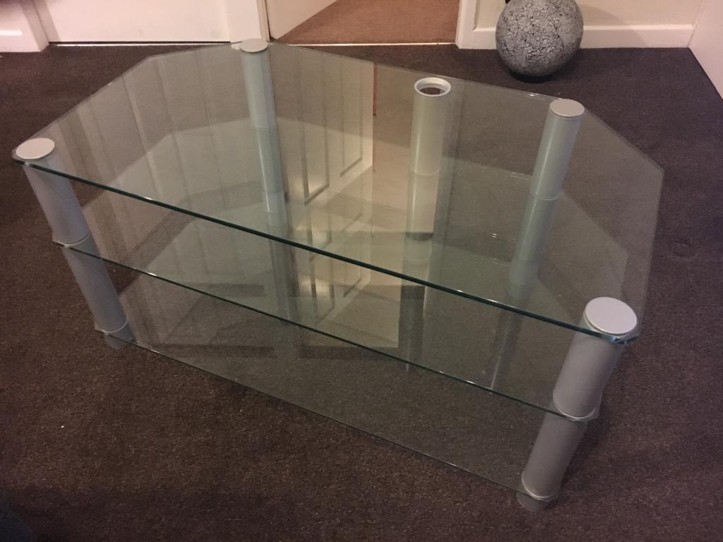 Large Glass TV Stand/Unit - Solid Excellent Quality