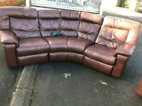 Electric reclining brown leather corner group sofa & 2 seater sofa £375 mint mint condition