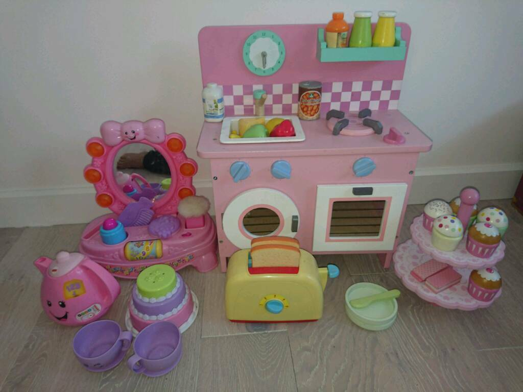 Small Wooden Kitchen And Fisher Price Laugh Learn Musical Mirror Tea Pot