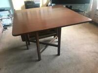 Teak Space Saver Dining Room Table R285 H29in/74cm W33in/83cm L Closed 9in/23cm L Open 57in/145cm