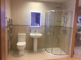 NEW 900 x 900 Walk In Quadrant Shower Enclosure Corner Cubicle 6mm Glass Door And Tray