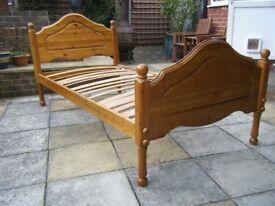 Single Pine bed, fair condition, no mattress.