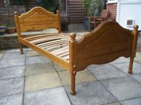 Single Pine bed, fair condition, no mattress.