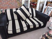 DFS Black and biscuit sofa stunning colours very comfy