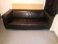 ikea klippan black leather sofa 2/3 seater