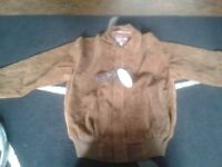 Womens Italian Brown Suede Bomber Jacket
