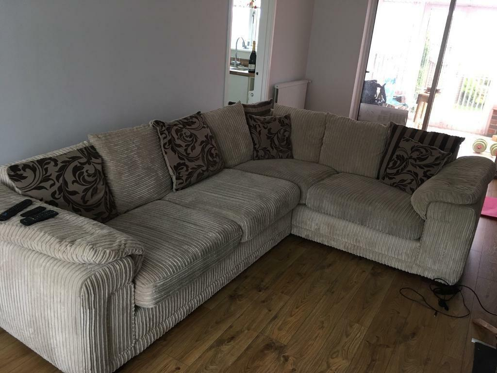 large beige l shaped sofa in winchester hampshire gumtree. Black Bedroom Furniture Sets. Home Design Ideas