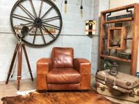 Chesterfield Vintage Leather Armchair Brown Tan