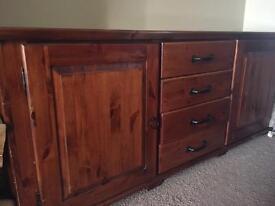 Handmade Dark Pine Coffee Table and Cabinet