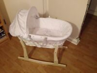 White Wicker Moses Basket With Mattress, Cover & Rocking Stand by MCC