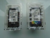 1 CANON CL-546 COLOUR and 1 CANON PG-545 BLACK 100% GENUINE INK CARTRIDGES, BRAND NEW and SEALED