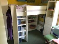 Kids Bunk Bed (Steens For Kids High Sleeper Bed in Solid Plain White)