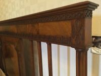 Stunning antique, mahogany double bed w/mattresses
