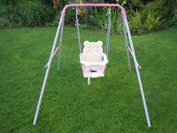 Pink Outdoor Baby Swing Straps Broken