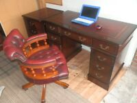 Reproduction Antique Style Leather Top Desk, matching filing cabinet & Captain's chair