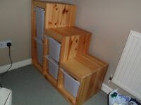 Storage unit, tiered with drawers (different depths), ideal for under eaves or stairs (Ikea Trofast)