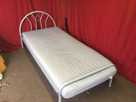 SILVER METAL SINGLE BED WITH MATTRESS,CAN DELIVER