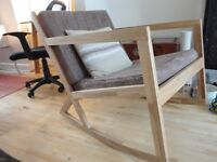 Beautiful solid oak rocking chair_ modern style