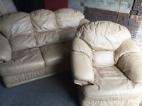 CREAM LEATHER 3 SEATER SOFA WITH ARM CHAIR,CAN DELIVER