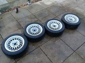 BBS off BMW E30 - 15x7 - ET24 - 4x100 wheels + 195/50/R15 Nankang NS2R