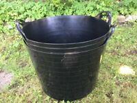 4 x Plastic storage buckets, black, home or garden