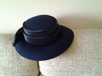 Navy Fabric Brimmed Hat