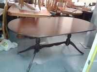 Regency dining table, mahogany, good physical condition.