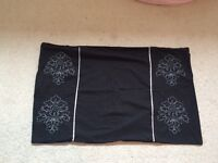 Black double duvet cover, fitted, flat, valence sheet, cushion, bed runner and matching blanket.