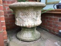"2 Large cast stone Garden Urns / Pots. Natural coloured & weathered. 24"" high x 24"" dia"