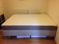 IKEA Evenskjer bed base and Hamarvik mattress, king size 150cm, 4 wooden legs, guest bed hardly used