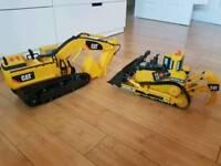 Caterpillar digger and tractor.